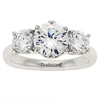 Vatche Three Stone .50 ct crown engagement ring 308