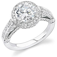 Stardust Micro Pave Bezel Set Diamond Engagement Ring N1602-1