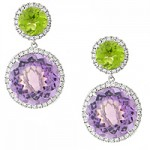 18k White Gold Peridot Amethyst & Diamond Drop Earrings