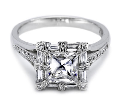 Tacori setting with pave set diamonds and prongs 2525PR65