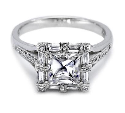 Tacori setting with pave set diamonds and prongs 2525PR65