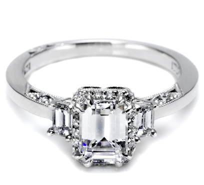 Tacori with Emerald Cut and Pave-set side diamonds 2621ECSM