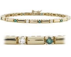 18k Gold 1.57ct diamond & emerald bracelet