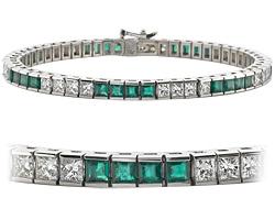 18k White Gold 9.26ct Diamond & emerald channel-set bracelet