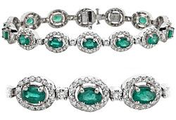 18k White Gold 11.48ct Diamond & emerald Bracelet