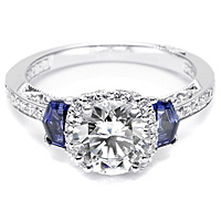 Tacori Sapphire Shield-Cut and Pave Diamond Setting