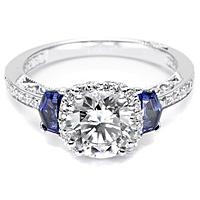 Tacori Sapphire Shield-Cut and Pave Diamond Setting