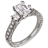 Scott Kay Emerald Cut Setting with Pave Diamonds