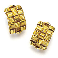 Roberto Coin Appassionata Collection Yellow Gold Woven Earrings