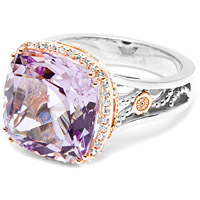 Tacori 18k925 Rose and Amethyst Diamond Ring
