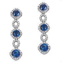 18k White Gold Diamond & Sapphire Drop Earrings
