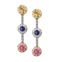 18k white Gold Multi Color Sapphire and Diamond Earrings