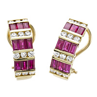 18k Gold 4.23ct Diamond & Ruby Earrings
