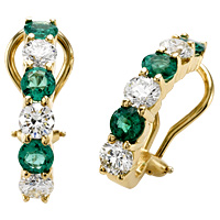 18k Gold 2.90 Diamond & Emerald Earrings