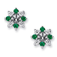 14k White Gold 1ct Diamond & Emerald Earring Jackets