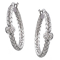 Roberto Coin Basketweave White Gold & Diamond Earrings