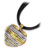 Roberto Coin Romantic 18k Yellow and White Gold Heart Necklace
