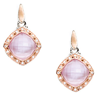 Tacori 18k925 Rose Amethyst Over Pink Mother-of-Pearl & Diamond Earrings