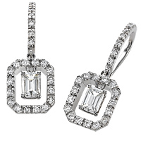 18k White Gold 1.02ct Emerald Cut Diamond Earrings