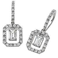 18k White Gold 1.02ct Emerald Cut Diamond Earrings