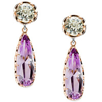 Prasiolite &amp; Amethyst Earrings