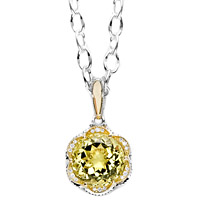 Tacori 18k925 Lemon Quartz and Diamond Pendant