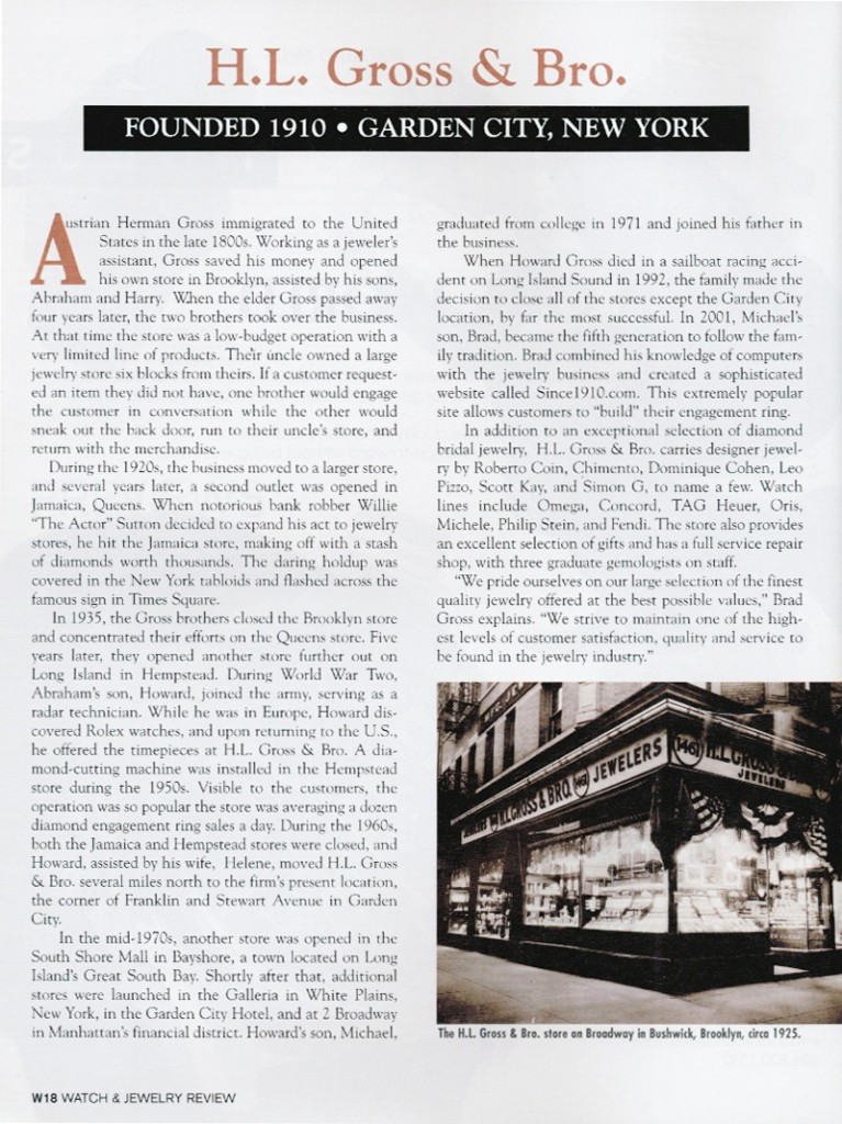 Since1910.com featured in watch & jewelry review