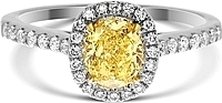 0.71ct Oval Cut GIA Fancy Intense Yellow Diamond Engagement Ring