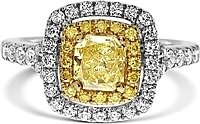 0.71ct Radiant Cut GIA Fancy Intense Yellow Diamond Engagement Ring