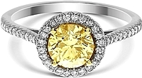 1.01ct Round Brilliant Cut GIA Light Yellow Diamond Engagement Ring