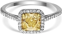 1.02ct Radiant Cut GIA Light to Fancy Light Yellow Diamond Engagement Ring