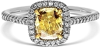 1.03ct Cushion Cut  Fancy Brownish Yellow Diamond Engagement Ring