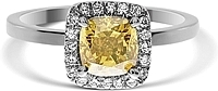1.03ct Cushion Cut GIA Fancy Deep Brownish Orangy Yellow Diamond Engagement Ring