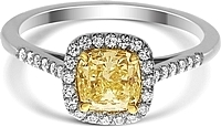 1.06ct Cushion Cut EGLUSA Fancy Light to Fancy Yellow Diamond Engagement Ring