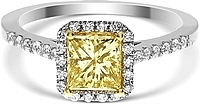 1.09ct Princess Cut GIA Fancy Yellow Diamond Engagement Ring