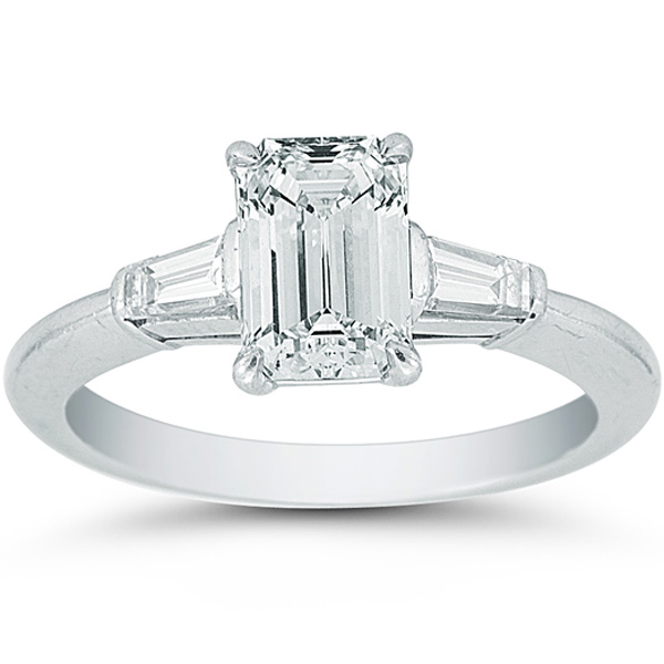 1 18 Emerald Cut Diamond With Two Tapered Baguettes in Platinum Tiffany &