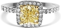 1.18ct Cushion Cut EGLUSA Fancy Light Yellow Diamond Engagement Ring