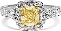 1.34ct Cushion Cut GIA Fancy Light Yellow Diamond Engagement Ring