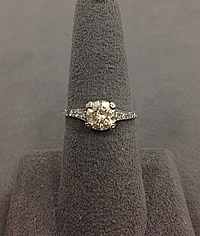 1.37ct L/I1 Round Brilliant Cut Antique Diamond Engagement Ring