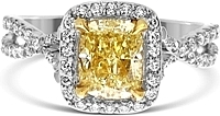 1.42ct Cushion Cut GIA Fancy Light Yellow Diamond Engagement Ring
