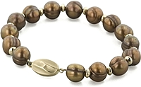 14k Gold 10-11mm Chocolate Freshwater Pearl Bracelet