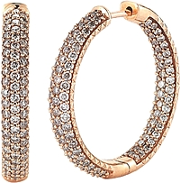 14k Rose Gold Pave Diamond Hoop Earrings-2.00cts