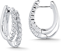14k White Gold 1.00ct Diamond Double Hoop Earrings
