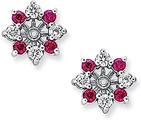 14k White Gold 1.12ct Diamond & Ruby Earring Jackets