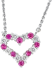 14k White Gold 1.65ct Diamond & Pink Sapphire Heart Pendant