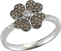 14k White Gold Diamond Flower Ring-.50cts