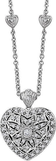 14k White Gold Diamond Heart Locket Pendant