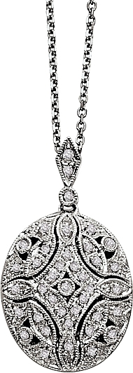 14k White Gold Diamond Oval Locket