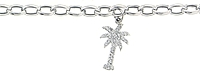 14k White Gold Diamond Palm Tree Charm Bracelet