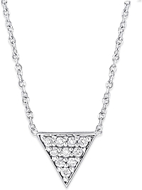 14K White Gold Diamond Pyramid Pendant